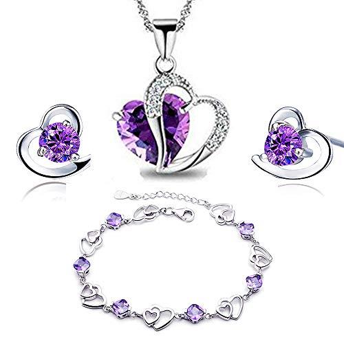 findout Amethyst rot, rosa, blau weiß Kristall-Herz Silber Anhänger Halskette + Ohrring + Armband für Frauen Mädchen. (F497) (Amethyst Kristall-Set)