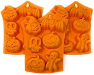 Halloween Silicone Mold Bundle: Includes 3 Halloween Molds: Pumpkins, Pumpkin with Witch Hat, Ghost, Skull, Ba