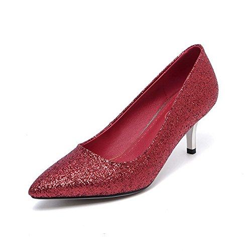 VogueZone009 Damen Mittler Absatz Weiches Material Rein Ziehen Auf Spitz Zehe Pumps Schuhe, Rot, 39