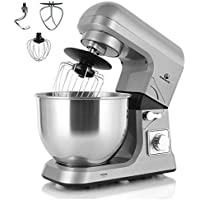 MURENKING MK36C Food Stand Mixer 1000W 5L Mixing Bowl 6 Speeds Control Kitchen Machine with Splash Guard, Beater, Dough Hook & Whisk(Grey)