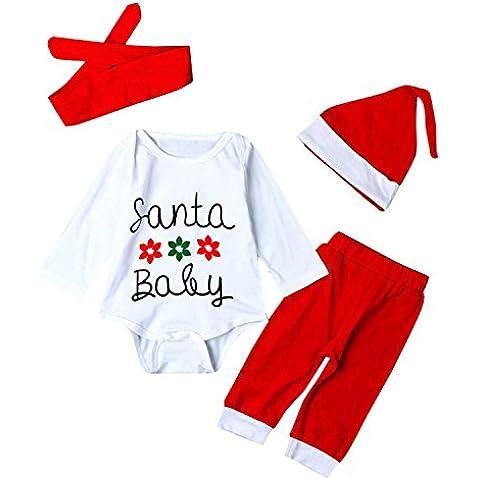 ZARU Niño bebé recién nacido Romper Ropa de Navidad Conjunto (traje de cuerpo+ Pantalones+ Sombrero+ Banda para el cabello)