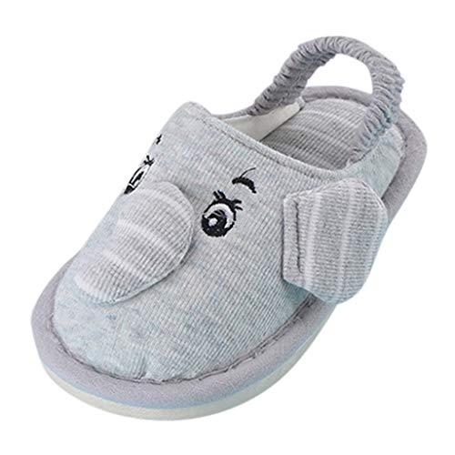 TOPKEAL Unisex Zapatillas Algodón Elefante de Dibujos Animados para Niños Zapatillas Elásticas Primeros Pasos Gris