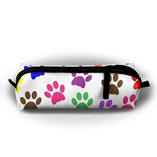 HTSS Dog Paw Print Pencil-Box Pouch Pencil Holders Pencil Pen Casewith Zipper Stationery Bag Sewing Kit -