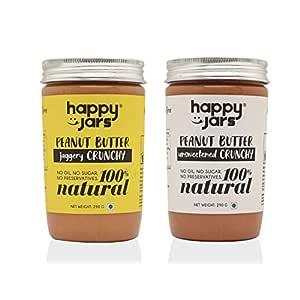 Happy Jars 100% Natural Vegan Crunchy Peanut Butter Duo | 290g Each | Crunchy | Gluten Free | Vegan | Keto Friendly | No Oil | No Sugar | No Preservatives |