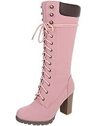 0d680443175e Ital-Design Schnürstiefel Damenschuhe Schnürstiefel Blockabsatz Schnürer  Reißverschluss Stiefel