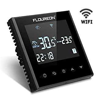 FLOUREON Wifi Thermostat LCD Touchscreen Heating Thermostat Support App Control Electric Heating Thermostat Programmable 5/5+1/5+2 Underfloor Temperature Controller (Black)