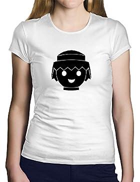 OKAPY Camiseta Playmobil. Una Camiseta de Mujer para los Fans de los playmobil. Camiseta Friki de Color Blanca