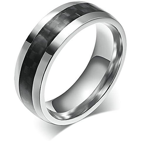 Alimab gioielli anelli uomini Acciaio inossidabile tessuto liscio Banda nozze