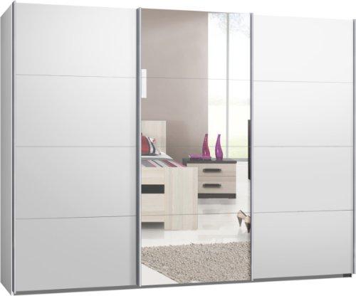 Schwebetürenschrank, Kleiderschrank, ca. 300 cm, Weiß mit Spiegel, Schiebetürensch...