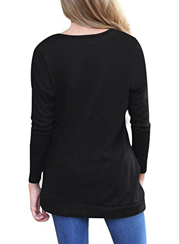 Lylafairy Damen Langarm Oberteile Herbst Sweatshirt Rundhals Elegant Casual T-Shirt Tops mit Zierknöpfe Schwarz