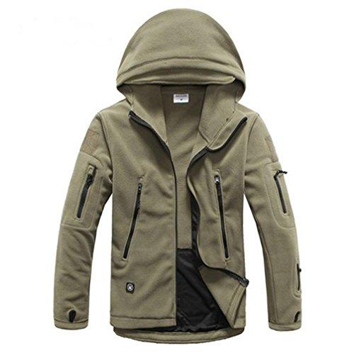 HHORD Chaud Simple Couche Catch Sweatshirt Men Outdoor avec Chapeau Softshell Molleton et randonnée Vestes Printemps et en Automne, XL
