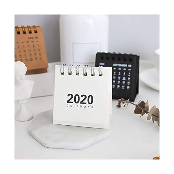 RROVE Table Calendar 2020 Año Nuevo Mini, Creativo Simple Bobina de Escritorio Bloc de Notas Calendario Kraft 4