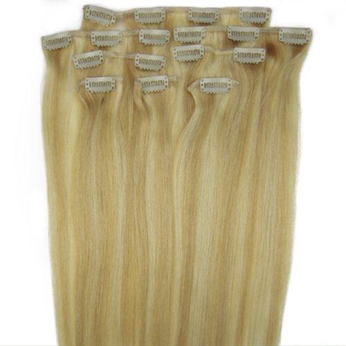 fashionline 38,1 cm Blond Highlight (# 27/613) 100% Remy Hair Lot de 8 extensions capillaires à clipser 100 g poids