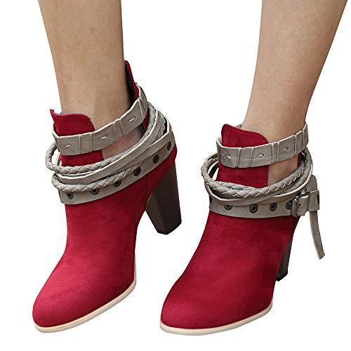 ABsoar Stiefel Damen Klassische Party Rutschfeste Boots Ankle Short Booties Leder Ritter Frauen Martin Stiefel Schuhe High Heels Wasserdichte Stiefel