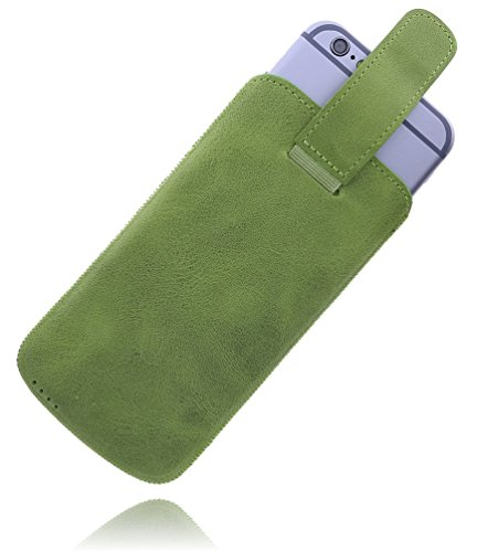 Burkley Apple iPhone 8 / iPhone 7 Hülle | Premium Lederhülle | Handyhülle | Tasche | Schutzhülle | Handytasche | Ledertasche | Hülle | Sleeve | Cover | Case Etui mit Klettverschluss (Sattel Braun) Hellgrün
