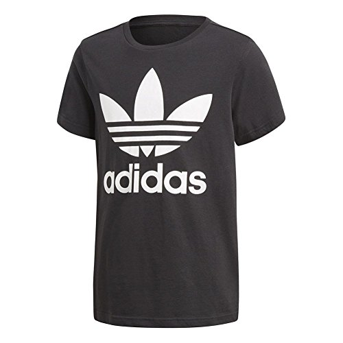 Adidas trefoil - maglietta bambini, nero/bianco, 12-13 anni (158 eu)