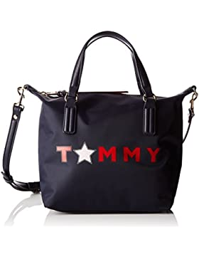 Tommy Hilfiger Damen Poppy Small Tote Tommy Star Shopper, Schwarz (Tommy Star), 23 x 15 x 22 cm