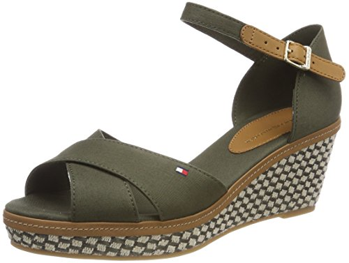 Tommy Hilfiger Iconic Elba Basic, Sandales Bride Cheville Femme, Vert (Olive Night 010), 40 EU
