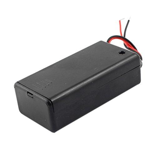 Sourcingmap® Interrupteur on/Off 2 Fils Noir Porte Boîtier pour 1 Pile 9 V