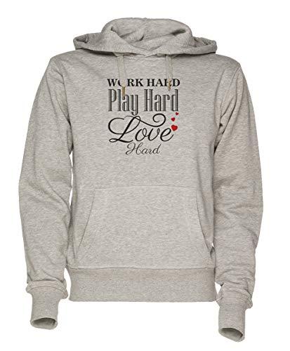 Jergley Work Hard Play Hard Love Hard - Inspirational Unisex Grau Sweatshirt Kapuzenpullover Herren Damen Größe S | Unisex Sweatshirt Hoodie for Men and Women Size S (Work Hoodie Hard Hard Play)