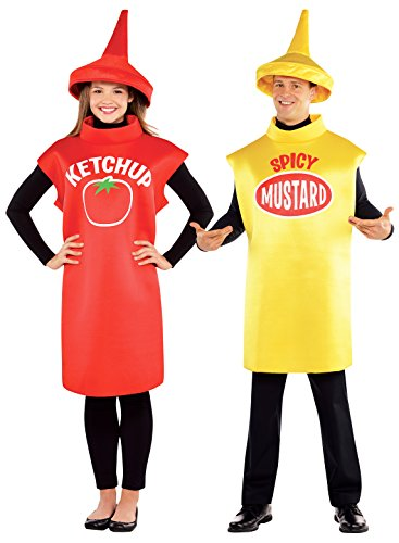 Adults Tomato Ketchup + Spicy Mustard Bottle Costumes Set for Couples
