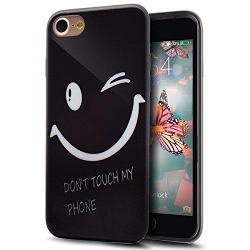 iPhone 8 Hülle,iPhone 7 Hülle,TPU Silikon Schutzhülle Case Hülle für iPhone 8 / iPhone 7,ikasus® Handyhülle iPhone 8 / iPhone 7 Silikon TPU Handy Schutzhülle Malerei Muster Stoßdämpfend Weich TPU Sili Schwarze Lächeln
