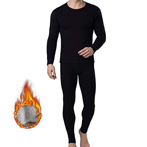 Premium Cotton Long Johns O-Neck Solid Men Thermal Underwear Long Johns