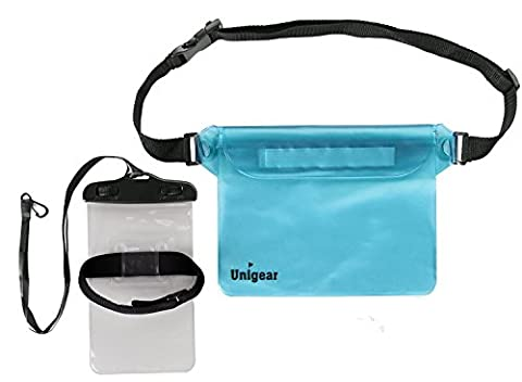 Unigear Waterproof Pouch Bag, Dry Bags Sack Waist Strap for Boating, Hiking, Kayaking, Canoeing, Fishing, Rafting, Swimming, Camping, Skiing Snowboarding, with Universal Waterproof Arm Band Phone Case