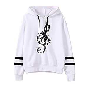 UJUNAOR Damen Hinweis Drucken Langarm Hoodie Sweater Top aus Baumwolle S/M/L/XL
