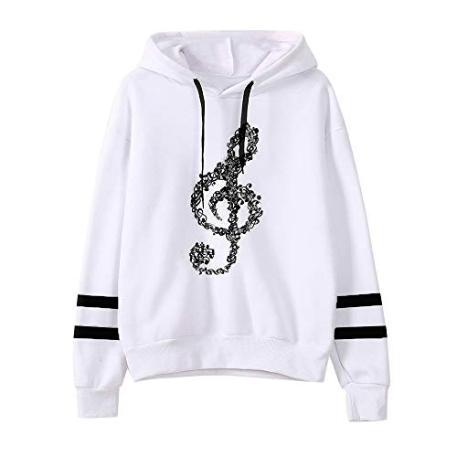 Dorical Frauen Kleidung Casual Musical Notes Langarm Hoodie Sweatshirt mit Kapuze Pullover Tops Bluse Abstand