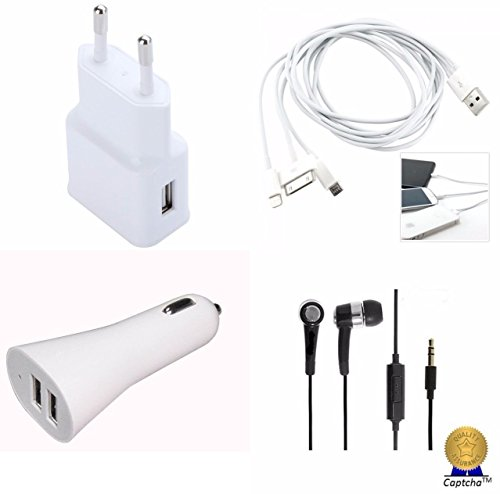 Panasonic Panasonic Eluga S Compatible Ceritfied Mobile Care Combo Kit of Multipurpose FAST USB Travel Adapter / Charger, 3 Pin Cable , Stereo Earphones, Dual Port Car Charger  available at amazon for Rs.497