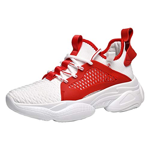 CUTUDE Unisex Laufschuhe Herren Damen Turnschuhe Sneaker Outdoor Mesh Schuhe Casual Lace Up Freizeitschuhe Bequeme Sportschuhe Atmungsaktive FlacheSchuhe (Rot, 42 EU)
