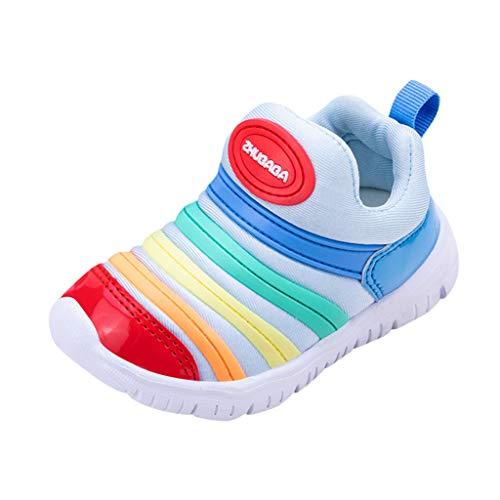 HDUFGJ Unisex - Kinder Baby Sneaker Raupe-Schuhe Weicher Boden Outdoor-Schuhe rutschfeste Bequem Leichtgewicht Laufschuhe Faule Schuhe Freizeitschuhe Turnschuhe fitnessschuhe22 EU(Blau)