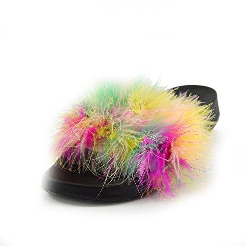 Kick Footwear - DONNA SLIPPER SLIP ON FLAT CURSORE MULI PELLICCIA CIABATTA SANDALI SCARPE Multi Dispositivo Di Scorrimento Birichino