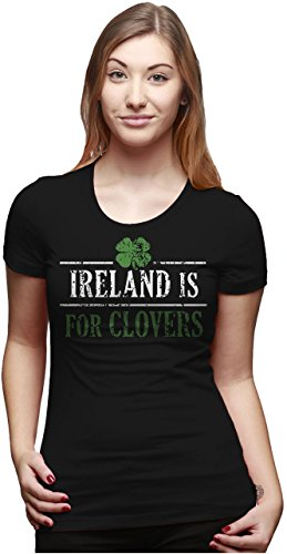 Patricks Day Irish T-shirts (Crazy Dog Tshirts Womens Ireland is For Clovers Lucky Irish St. Patricks Day Drinking T Shirt (Black) S - Damen - S)