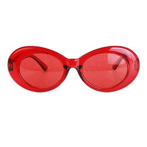 MagiDeal Retro Transparente Schlagbrille Ovale Mutige Mod Dick Gerahmte Sonnenbrille - rot