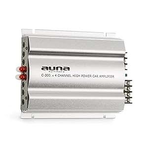 auna C300.4 • Amplificatore per auto • 4 canali amplificatore auto • 200 Watt di potenza RMS • 2 bande di equalizzazione regolabili • Frequenza: 20 Hz - 20 kHz • Ampianto multi-connessione • Argento