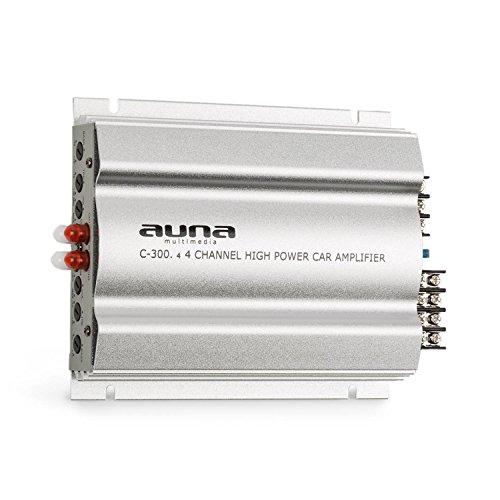 auna C300.4 • Auto Verstärker • 4-Kanal Auto-Endstufe • Car Amplifier • 4 x 100 Watt RMS • stufenlos regelbarer 2-Band-Equalizer • Frequenzbereich: 20 Hz - 20 kHz • Multi-Anschluss-Möglichkeit • silber