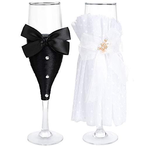 LONGBLE Hochzeit Sektgläser Weingläser, 2er Brautpaar Sektkelche/Hochzeit Champagnergläser mit Braut und Bräutigam Kleider Gläser - Hochzeitsspiele anrösten Art Deco,Sekt-Glas Geschenkidee - M