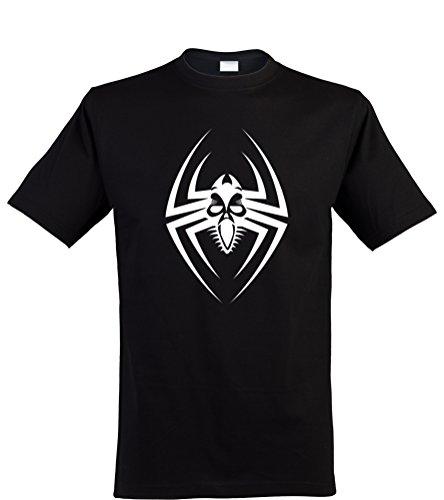 lustiges Herren T-Shirt mit witzigem Motiv, Spinne, Größen S-XXL, cooles Fun-Shirt ideal als Geschenk, schwarz, Gr. (Spider Face Kostüm)