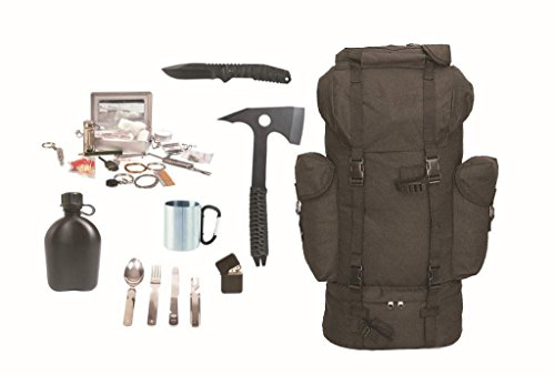 Survival Set BLACK BW Kampfrucksack schwarz + Survival Kit + Zubehör Messer Beil etc.