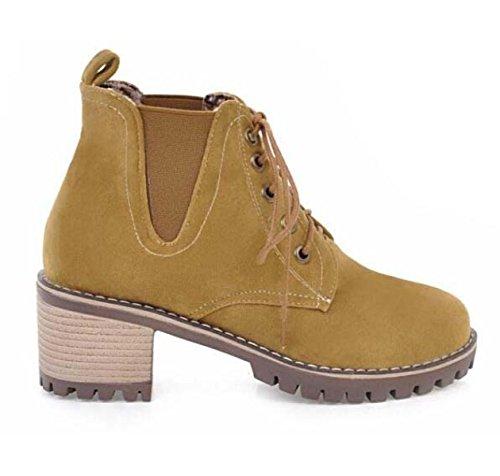 Scrub Con Gli Stivali Il Precedente Pizzo Il Colore Solido Gli Stivali Martin Le Scarpe Da Donna Yellow