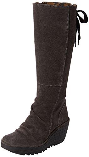 FLY London Damen Yust Stiefel, Blau (Diesel), 35 EU (High Round Boots Toe Knee)