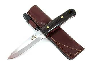 WOODLORE - Outdoor / Survie / Couteau de chasse - Manche en bois de granadillo (exotic wood), Lame inox MOVA-58 avec étui de transport en cuir. Allume feu (firesteel). Fabriqué en Espagne.