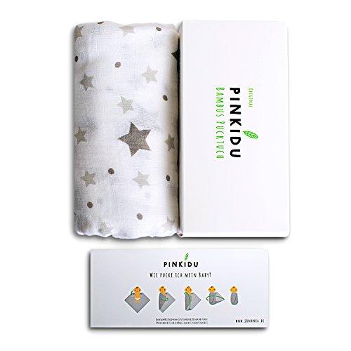 Pinkidu® Pucktuch, 120x120 cm, Sterne, seidenweiche Baby Puckdecke Baumwolle Bambus, inkl. E-Book zum Thema Pucken & Bindung, sinnvolles Geschenk zur Geburt
