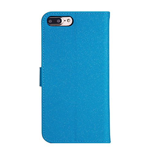 iPhone 7 Plus/8 Plus Etui a Rabet Portefeuille, Moon mood® Cas de Téléphone Protable Folio Coque pour Apple iPhone 7 Plus Housse de Protection Flip Cover Bookstyle Case Supporter Stand Solide Pochette Bleu