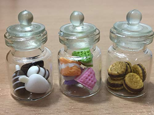 3-Teiliges Miniatur Lebensmittel Schokolade Cookie Kuchen Puppenhaus Donut Candy in Klar Glas Mini Flasche Fruit # MF060 Fruit Cookie Jar