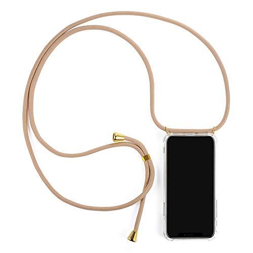 Fossati - Handykette kompatibel mit iPhone XR, Handyhülle mit Band, Handykordel mit Hülle, Silikonhülle, Schutzhülle, Necklace mit Hülle für Smartphone (iPhone XR, Beige/Gold)