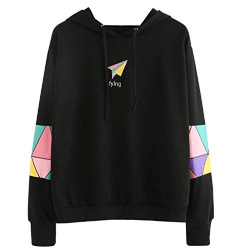Sannysis Kapuzenpullis Langarm Damen Hoodie Sweatshirt Frauen mit Kapuze Pullover Tops Bluse Kapuzenpullover (XL, Schwarz) (Crew Kapuzen-pullover)
