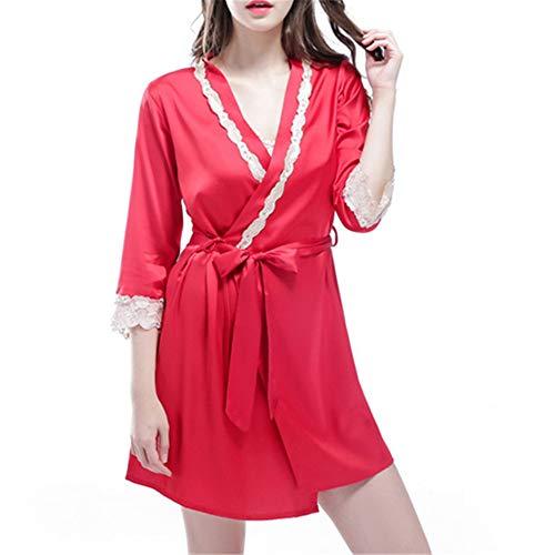 Damen Morgenmantel Kimono Satin Robe Kurze Nachtwäsche V Ausschnitt Bademantel Mit Gürtel,Damen Chinesischer Bademantel rot XXL